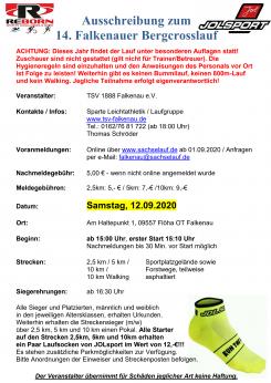 Falkenauer Bergcrosslauf Corona Edition - 12.09.2020